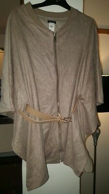 Beige River Island Belted Cape Jacket Suede Effect Size Large