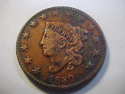 1830 Classic Head Large Cent High Detail, Cleaned , Corrosion Still Nice Type