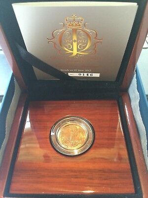 "2012 Full Sovereign gold coin  ""Struck on Day"" Diamond Jubilee, BOX, COA"