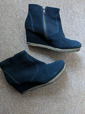White Stuff navy suede wedge boots size 6 worn once sold out
