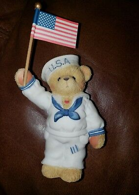 Cherished Teddies wear your country's colors with pride- Joel Bear USA flag