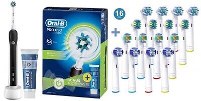 Oral-B Pro 650 Cross Action Electric Rechargeable Toothbrush With 16 Pack Heads