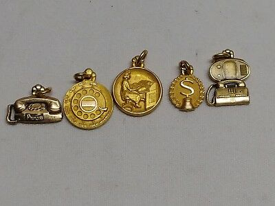 vintage set of 5 cto 1/10 10k gold filled bell telephone charms