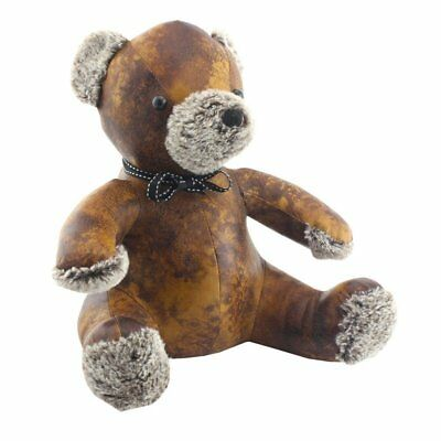 Cute Teddy Bear Faux Leather Doorstop Fluffy Nose , Ears & Paws Home Decor