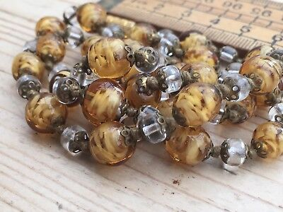Pretty Vintage Necklace, Vintage Swirly Amber Glass Bead Necklace