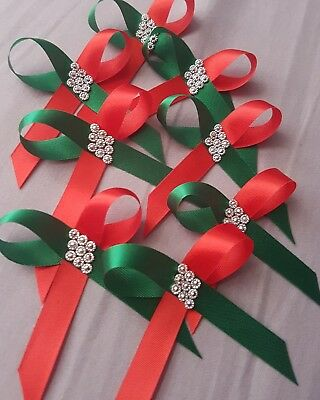 10 red and green christmas bows with bling crafts card making self adhesive