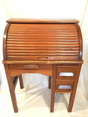 Antique Child Size Childrens Roll Top Desk