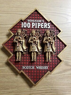Vintage Advertising Seagrams 100 Pipers Scotch Hanging Sign Harbor Industries