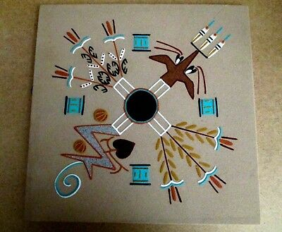 "Native American Lg Sand Painting  ""4 SACRED PLANTS"" Navajo A. Bisbee New Mexico"