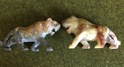 Vintage Pair Lot of 2 Hand Carved Chinese Tiger Marble?? Figure Statue