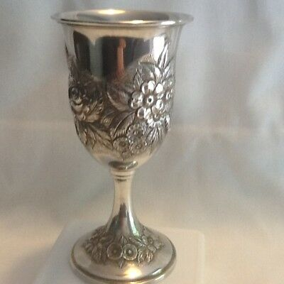Antique S. Kirk & Sons Sterling Silver Repousse Wine Goblet No Monograms #4