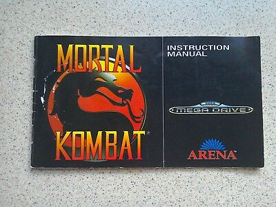 Mortal Kombat Manual - Sega Mega Drive - NO GAME MANUAL ONLY (PAL)