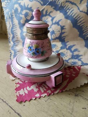 Delightful Antique French Art-Deco Handpainted Pink Lustreware Encrier / Inkwell