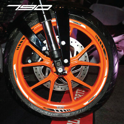 790 Duke motorcycle wheel decals rim stickers stripes Laminated orange