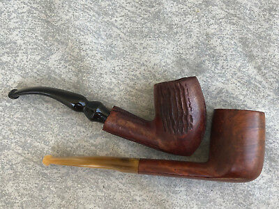 Vintage OSCAR LUCITE SAVINELLI ITALY & DR GRABOW FREEHAND Tobacco Estate Pipes