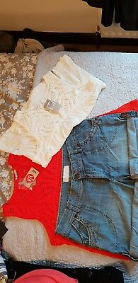 ladies summer bundle size 16 2x tops bnwt and 1 pair denim shorts