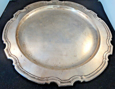 "Tiffany & Co. Vintage Antique 13"" Sterling Silver Scalloped Platter"