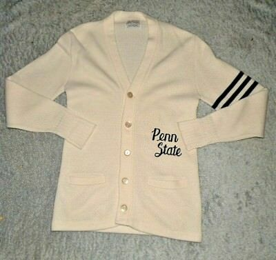 Vintage 70s Penn State Varsity College White Cardigan Sweater Mens Small Bristol