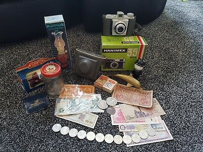 Job Lot £5 coin and Antique Vintage Collectables Coins notes Curios junk draw