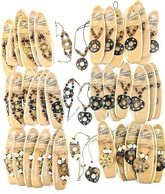 Wholesale 36 X Paua Shell Inset Boho Festival Ethnic Surf Bracelet Necklace S120