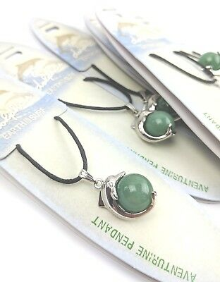 Wholesale Gemstone Jewellery 6 X Aventurine Wrap Around Dolphin Pendant D029