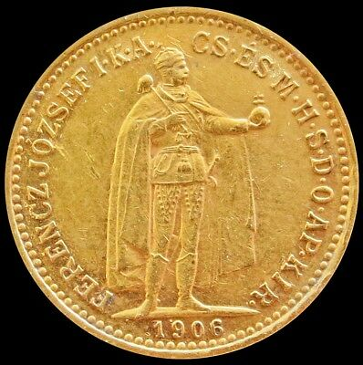 1906 Kb Gold Hungary 10 Korona Emperor Franz Joseph Coin About Unc Condition