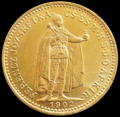 1902 Gold Hungary 10 Korona Emperor Franz Joseph 1 Coin About Uncirculated