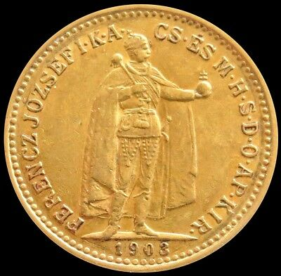 1903 Gold Hungary 10 Korona Emperor Franz Joseph 1 Coin About Uncirculated