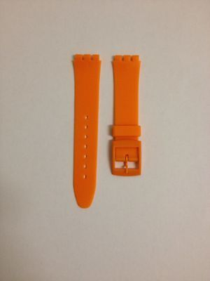 17mm (20mm) Resin Watch Strap Orange for Swatch Watches Free P&P