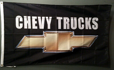 CHEVY TRUCKS FLAG BANNER 3X5 BOW TIE LOGO BADGE CHEVROLET garage shop wall sign