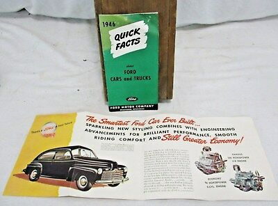 2-1946 Ford Quick Facts about Cars & Trucks Engines Sales Brochure ADVERTISING