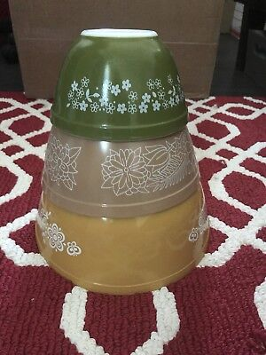 Vintage Pyrex Nesting Mixing Bowls Mixed Set 401 402 403 Gold Brown Green