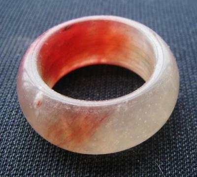 vintage.natural red xiuyu jade. hand carved  band ring sz14