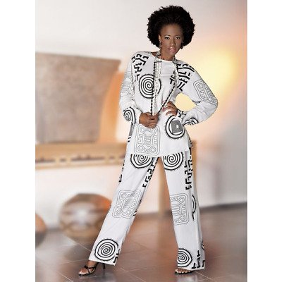 Ashro Black White Ethnic African American Pride Dress Power Print 3 Pc Wardrober