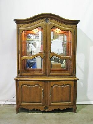 "Ethan Allen Solid Cherry ""Country French"" Illuminated China Cabinet; Near Mint"