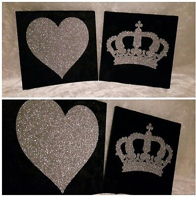 Grey /& Silver Glitter Sparkly Love Heart Canvas Wall Art Picture