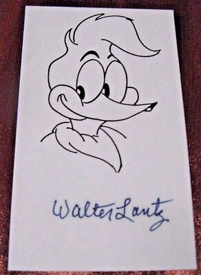 Near Mint, Cartoonist Walter Lantz Signed, A Printed Drawing Of Woody Woodpecker