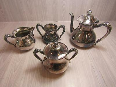4 Pieces Of Non Matching Taunton Quadruple Silverplate Teapot Sugar Bowl More