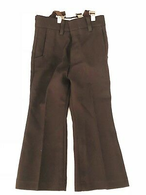 Vintage 1970's era Billy the Kid Brown Bell-bottoms Pants with Suspenders sz 4