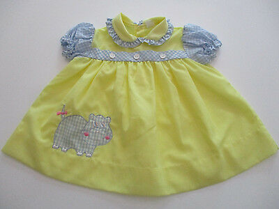 Vintage Baby Doll Dress Sz. 12-18 mo Yellow Blue Made Phillippines Lightweight