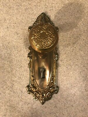 Victorian Style Embossed Door Knob & Back Plates Ornate Brass