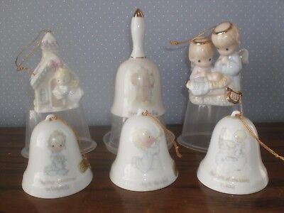 Lot of 6 Precious Moments Christmas Ornaments & Bell