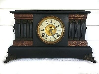Lovely Antique American 8 Day Strike Mantle Clock By E. Ingraham Clock Co.
