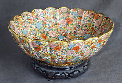 Grand Meiji Era Japanese Satsuma Bowl - Kinkozan