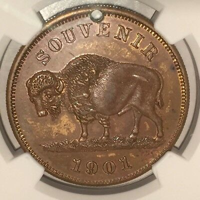 1901 Pan-American Expo Buffalo Dollar HK-291 NGC AU58 SC$1: Struck In Brass 34mm