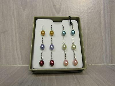 Honora Pearls Sterling Silver Jewelry Set of 6 Colorful Dangle Earrings