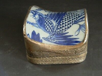 Antique Hand Painted Chinese Porcelain  & Silver Box