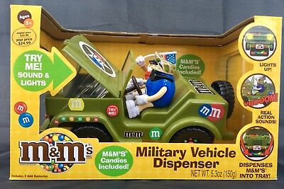 MILITARY WILLYS JEEP M & M DISPENSER with lights and sounds, NEW IN ORIG. BOX