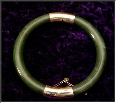 Vintage Chinese Dark Green Jade Gold Plated Hinged Bangle Bracelet 48.33 Grams