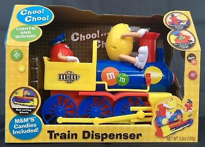 M&M DISPENSER - TRAIN with lights and sounds, NEW IN ORIG. BOX
